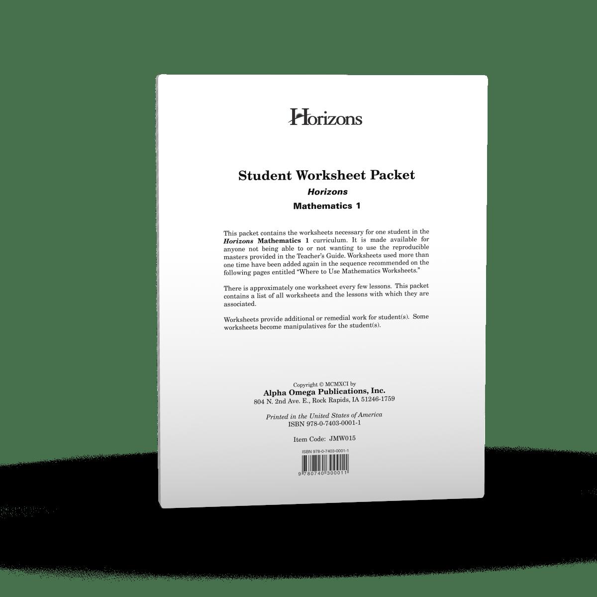 Horizons 1st Grade Math Student Worksheet Packet