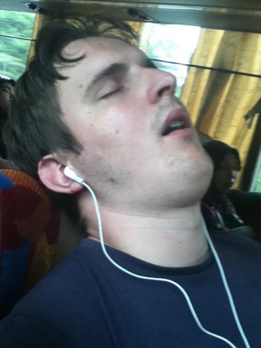 Lee has gotten really good at falling asleep on buses