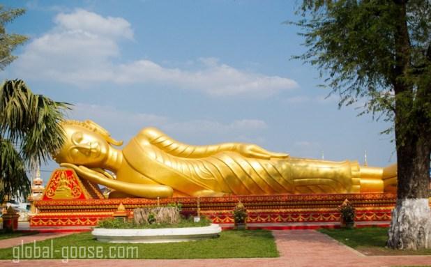 Golden Reclining Buddha Viantiene