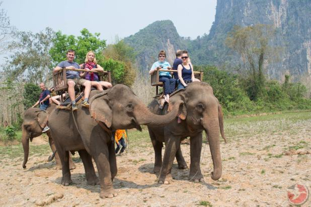 Laos elephant riding