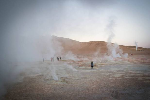 Geothermal pools in the desert