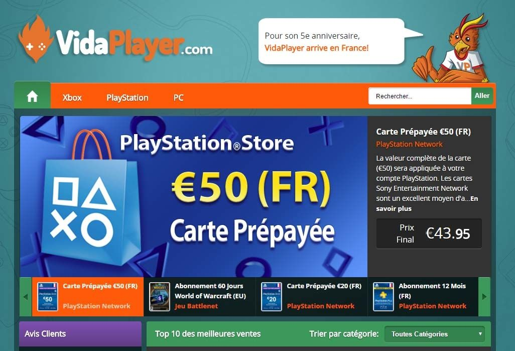 carte prepayee playstation xbox