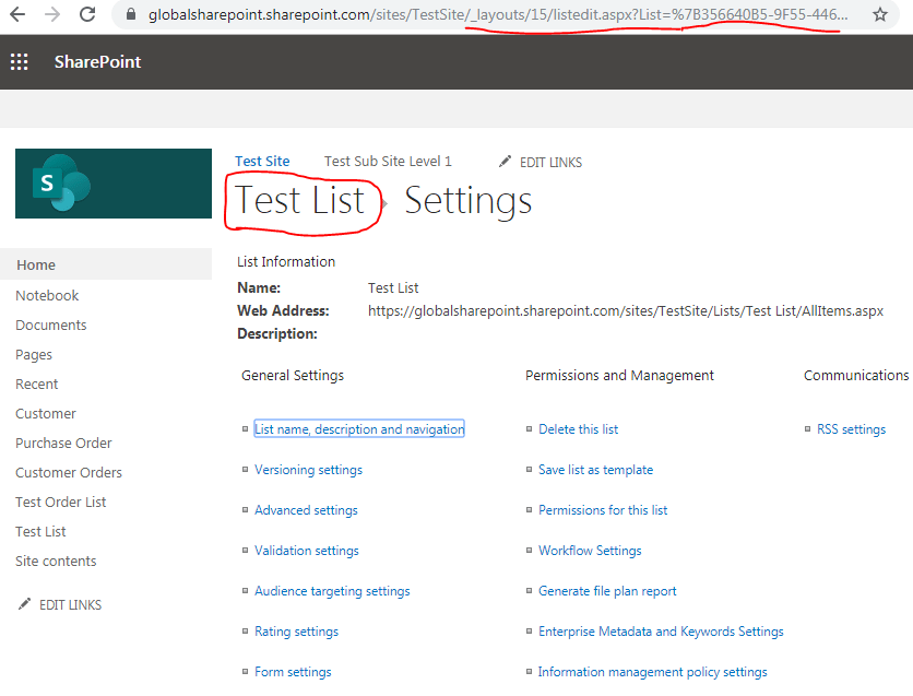 SharePoint List URL1
