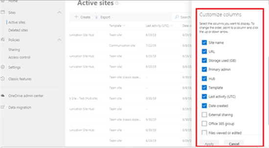 Customize columns in active sites view - SharePoint admin center - Office 365 - Microsoft 365 admin center