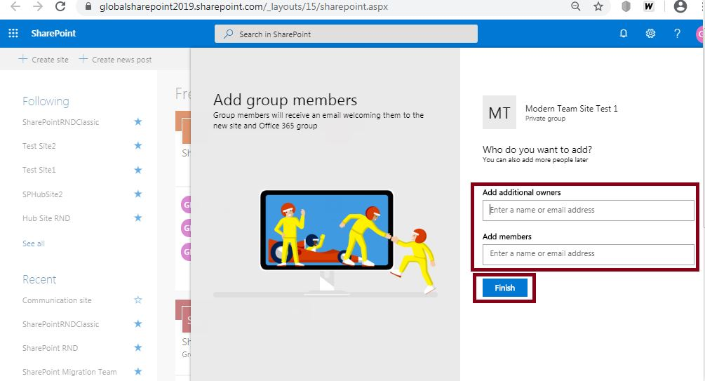 Site Group owners: Create modern team site in SharePoint Online