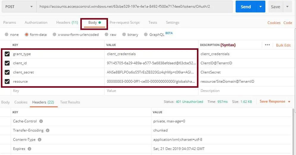 POST content type, client_id, client_secret_Postman tool SharePoint online REST API