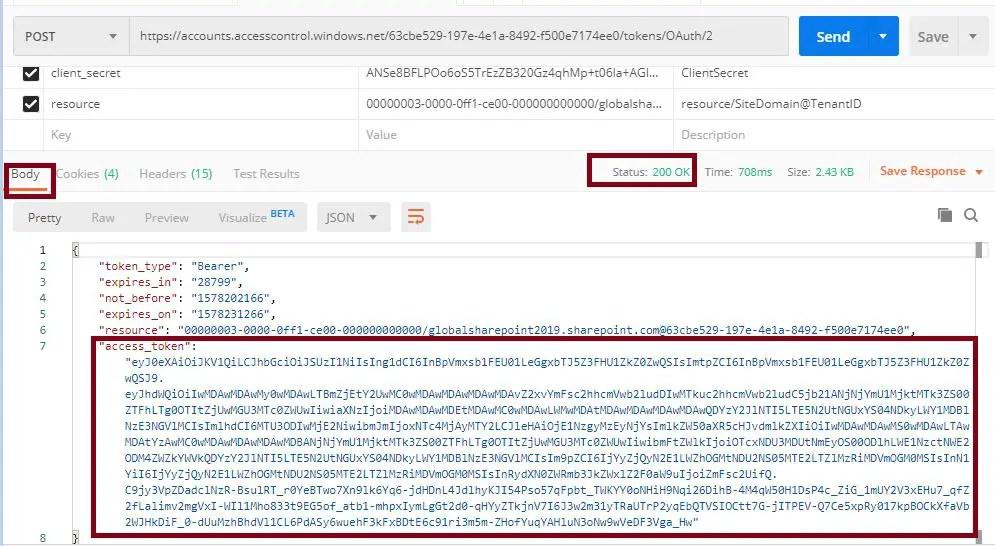 POST status 200 OK Postman tool SharePoint online REST API