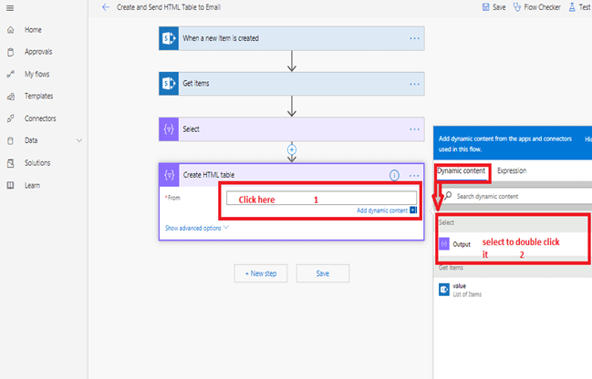 Create HTML table action - Select in Microsoft flow power automate