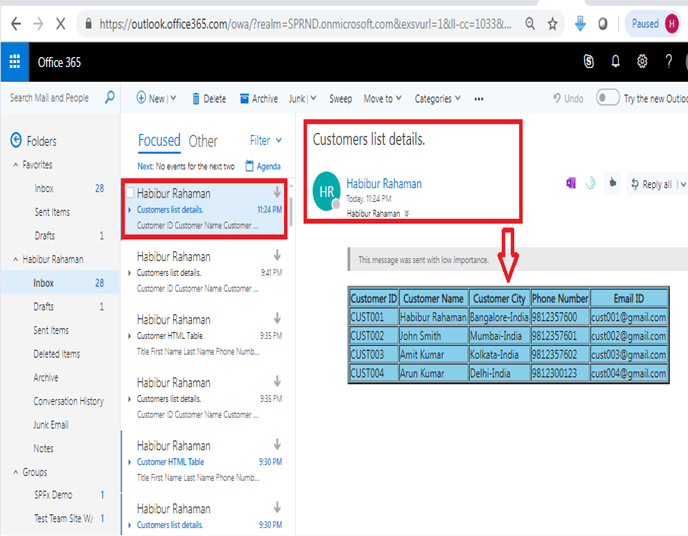 Outlook - Format HTML table in outlook using Microsoft flow power automate - Test Flow, Your flow ran successfully