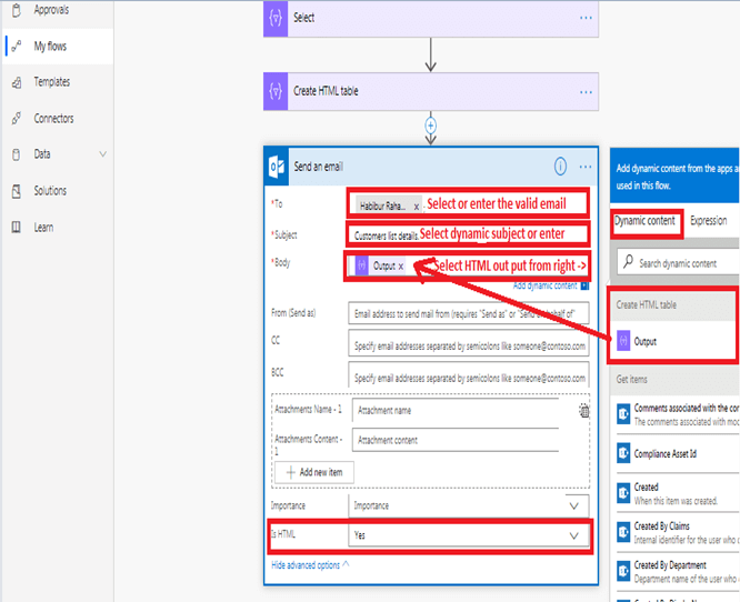 Send an email office 365 outlook configuration in Microsoft flow power automate
