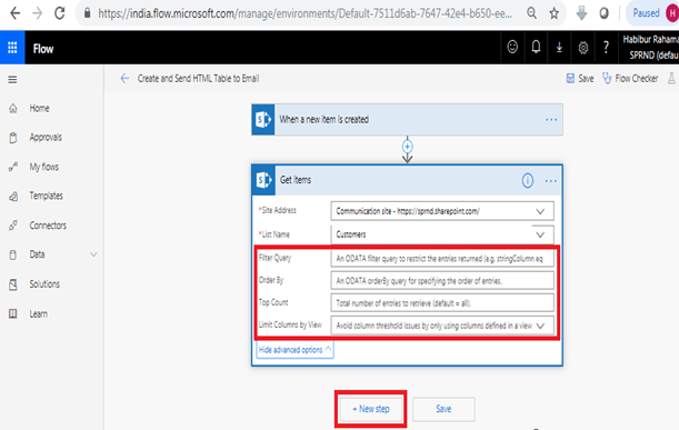 When a new item is created - Get Items in Microsoft Flow, Filter Query, Order By, Top Count