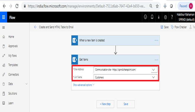 When a new item is created - Get Items in Microsoft Flow