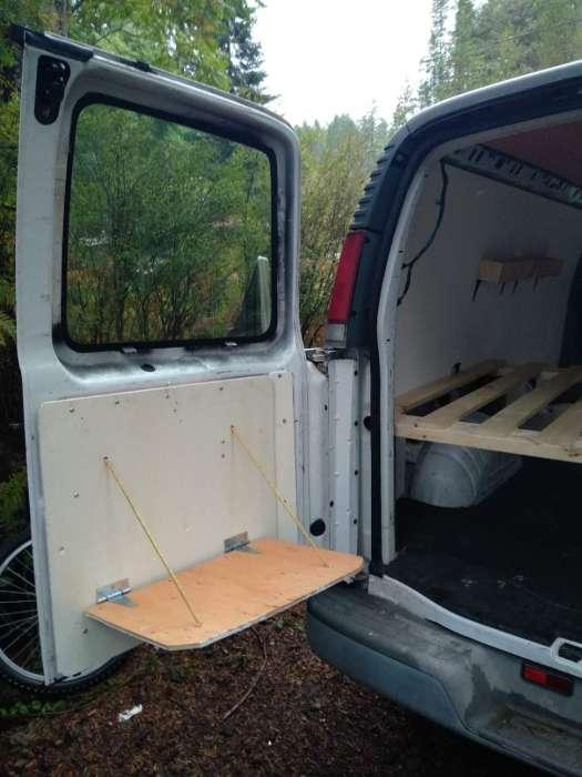 drop down DIY table and bar van conversion
