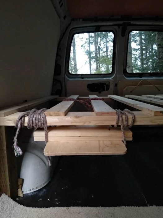diy fold out coffee table van conversion