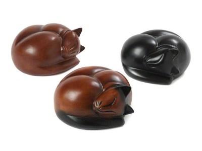 Sleeping Cat Wooden Urns
