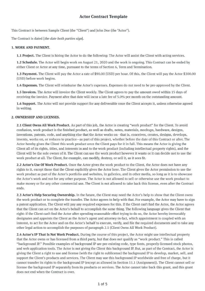 Click on the form below to see a sample template that includes the points you will want to cover in your agreement. Free Customizable Actor Contract Template Bonsai