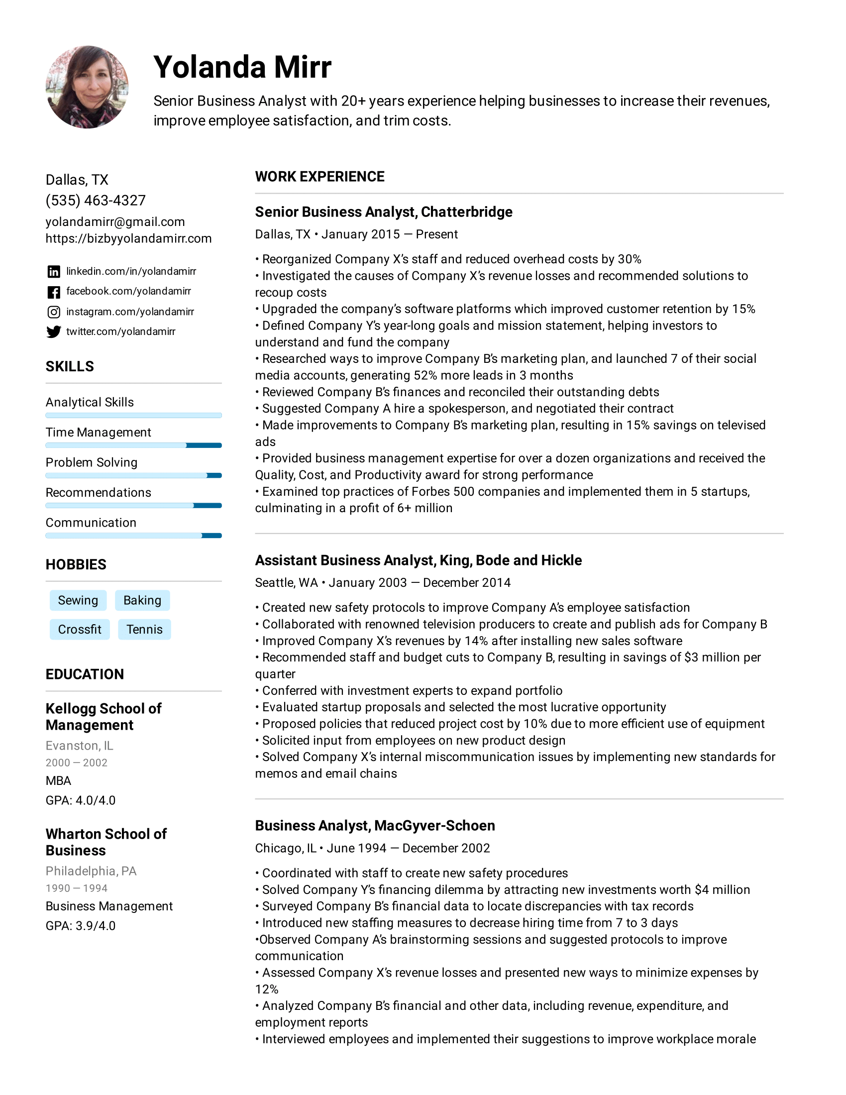 What things do people put in the skills section of their resumes?. Business Analyst Resume Example Writing Tips For 2021