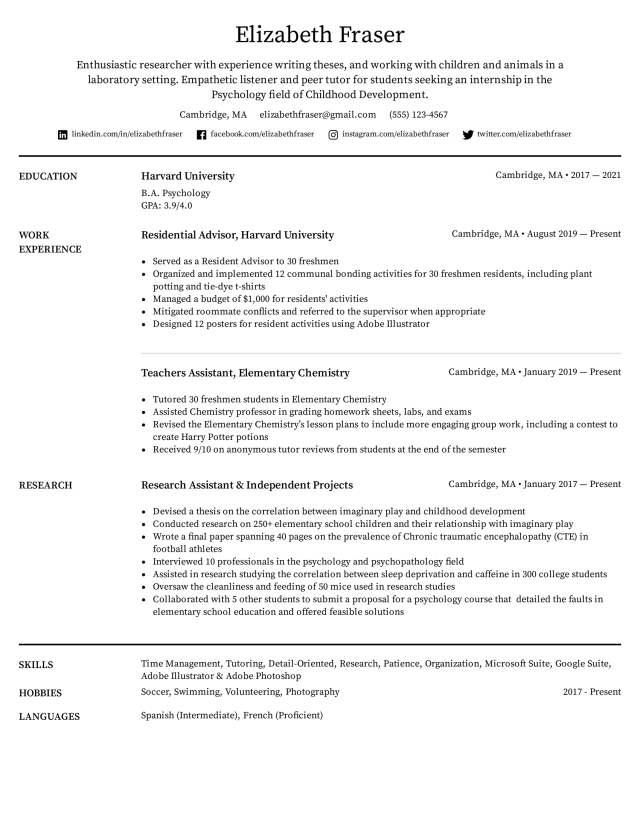 College Student Resume Example & Writing Tips for 19