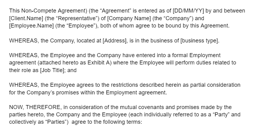 company name is located at address and … Download A Free Non Compete Agreement Template Signeasy