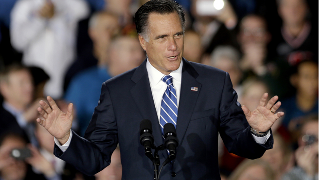 Nov. 2, 2012: Republican presidential candidate Mitt Romney at Wisconsin Products Pavilion at State Fair Park. (AP)