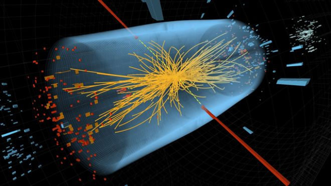 Dec. 10, 2011: Two high-energy photons shown as red towers are smashed together in the LHC. The yellow lines are the measured tracks of other particles produced in the collision -- possible evidence in the hunt for the Higgs Boson. (CERN)