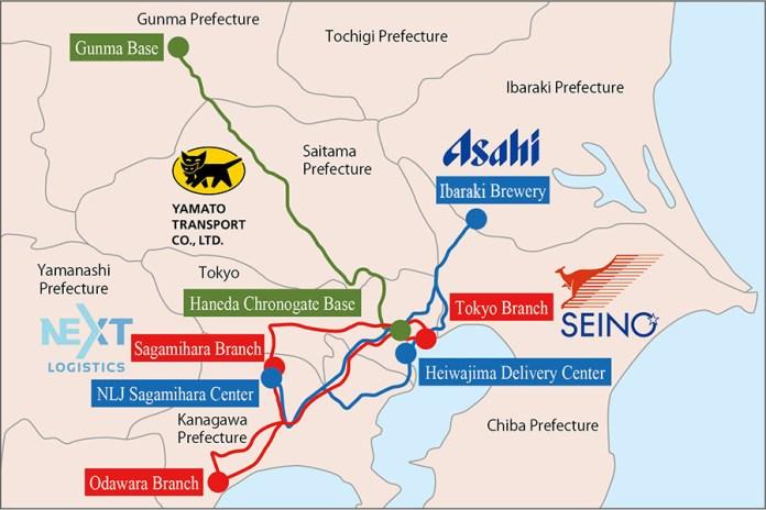 Logistics operation Map (Asahi Group & NLJ, Seino Transportation, Yamato Transport)
