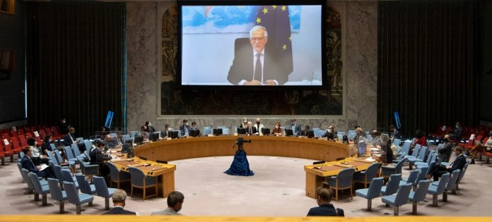 Security Council  meets on Cooperation between the UN and the European Union in maintaining international peace and security. On screen is Josep Borrell, High Representative of the EU for Foreign Affairs and Security Policy.