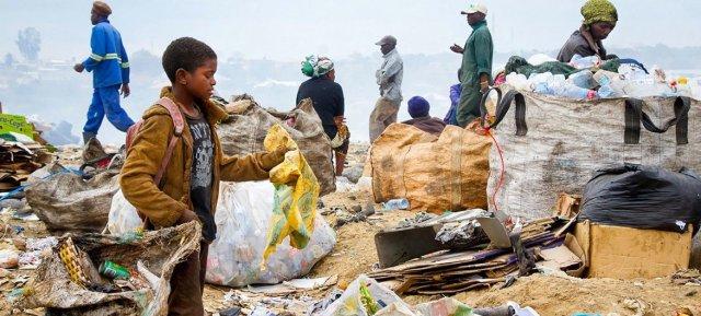 Waste-pickers scavenge through municipal landfills in Zambia.