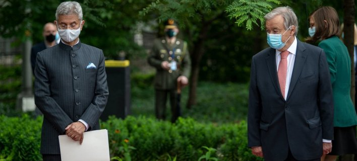 United Nations Secretary-General António Guterres (right) joins Subrahmanyam Jaishankar, External Affairs Minister of India, at a ceremony at the New York Headquarters of the UN to recognize the service of peacekeepers.
