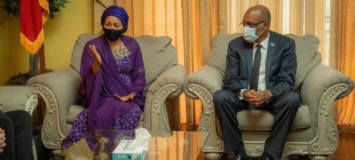 La Vice-Secrétaire générale de l'ONU, Amina Mohammed, rencontre le Premier ministre d'Haïti, Ariel Henry.