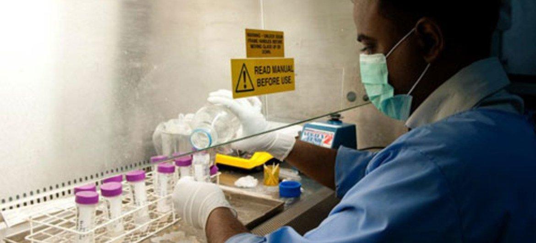 Un laboratorista trabaja con medicamentos contra la tuberculosis. Foto de archivo: Fondo Mundial contra la Tuberculosis/Thierry Falise