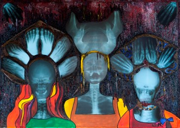 Three Sisters, 2014, Oil paint, acrylic, oil, plastics, LEDs, on canvas,110 x 80