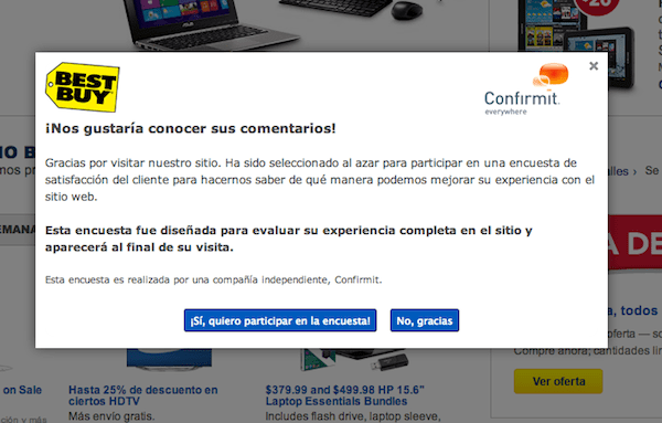 Best Buy Survey in Spanish