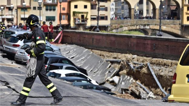 【気になるニュース】Florence's Arno river embankment collapses (BBC NEWSより)