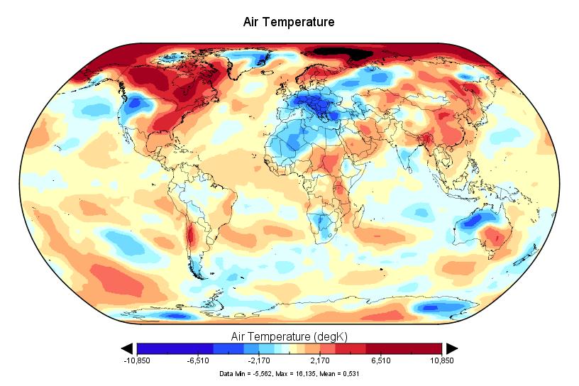 Bilan NCEP-NCAR pour janvier 2017 : le 2è plus chaud des archives