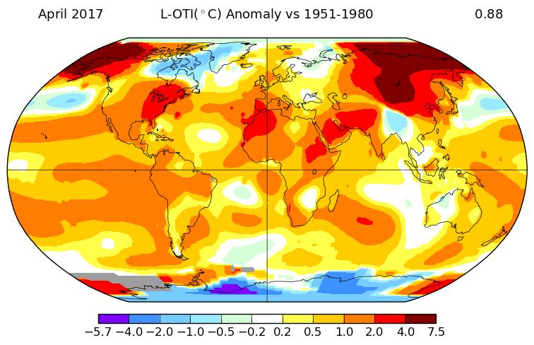 Température mondiale : 2è mois d'avril le plus chaud, selon la NASA
