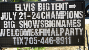 A sign inviting attendees to an elvis impersonator competition