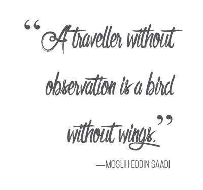 A traveller without observation is a bird without wings