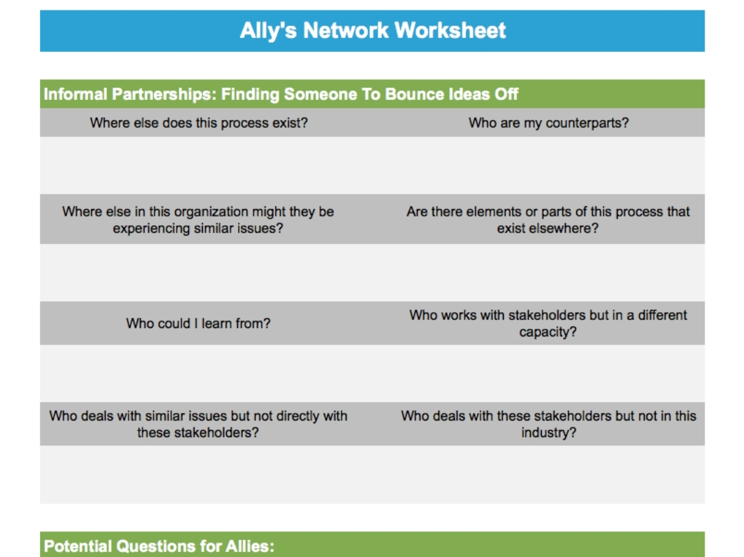 Ally S Network Worksheet Global Continuous Improvement
