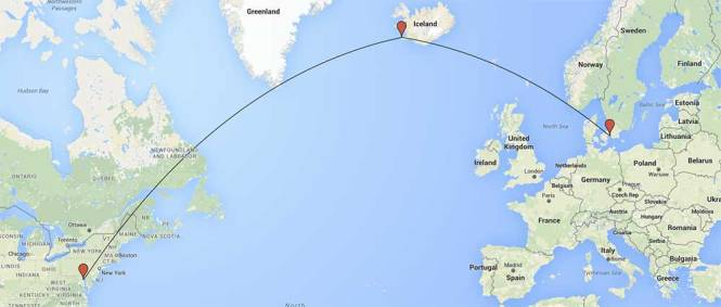 Flight route from Baltimore to Copenhagen