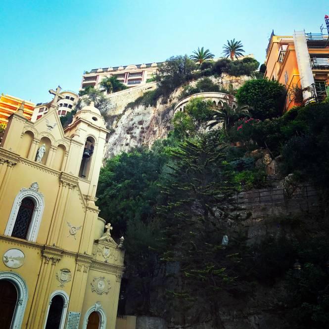 Monaco church and train station