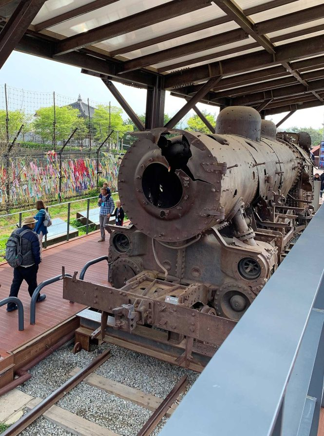 Visiting the DMZ, shot up train