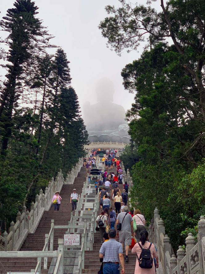 The walk up to Tian Tan Buddha in Hong Kong