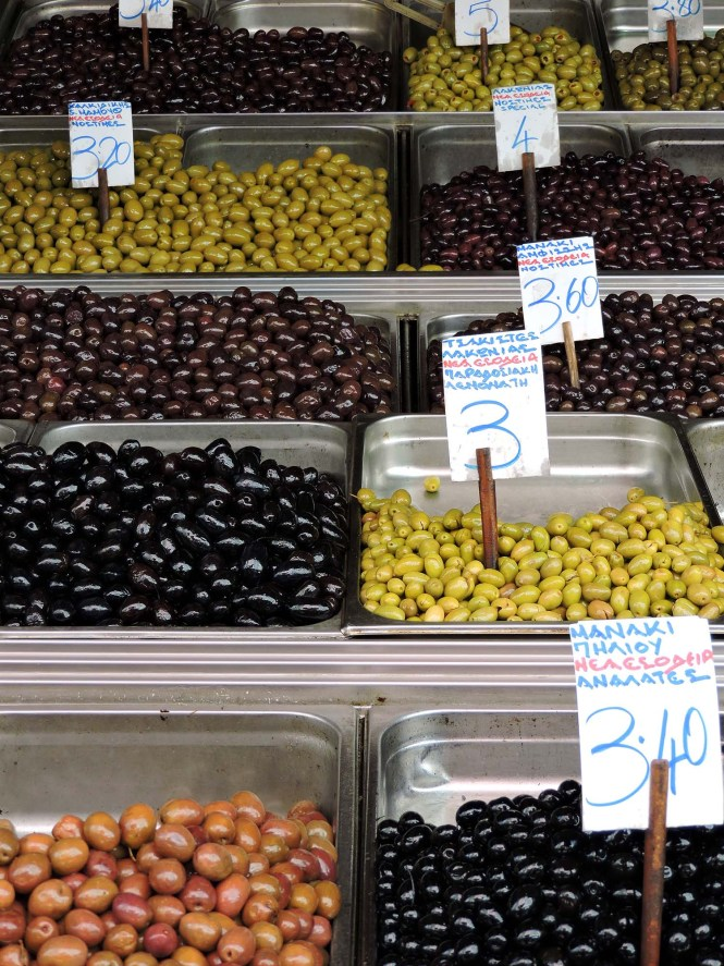 Impressive olive selection at Greek market