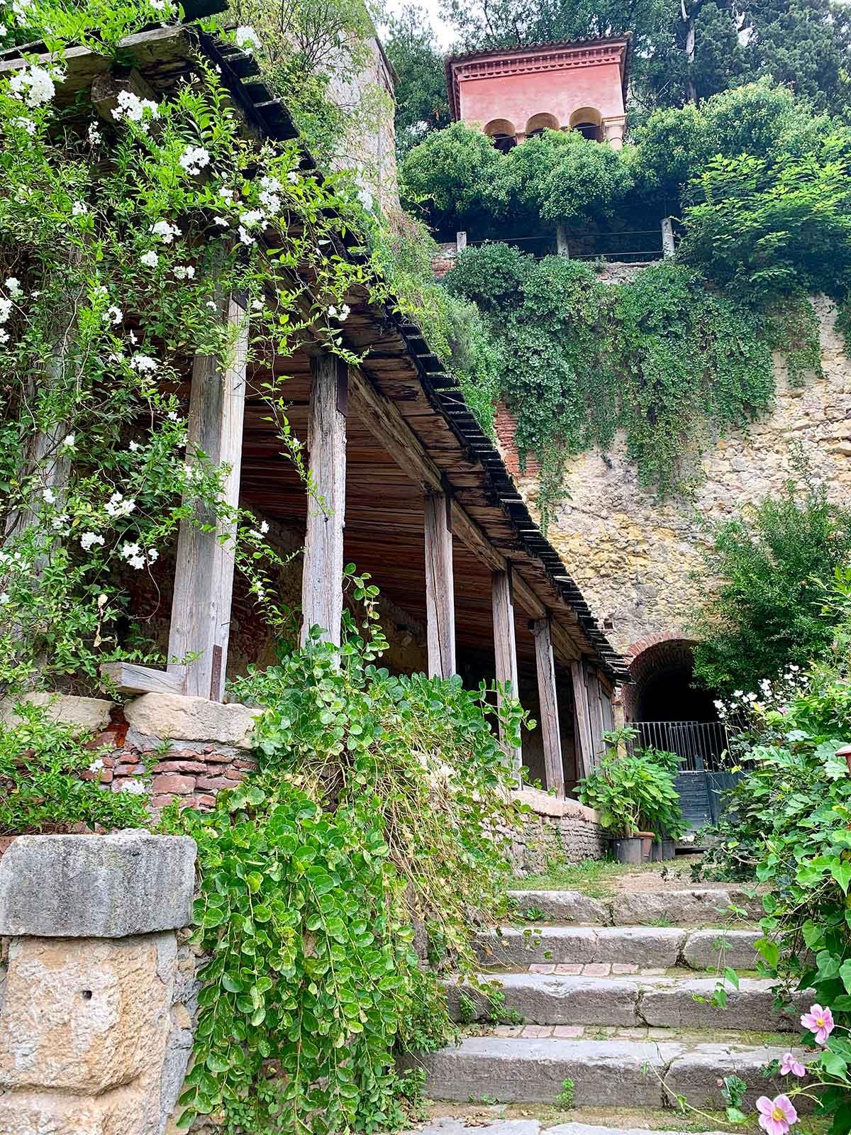 Stairs and flowers in Verona's Giardino Giusti