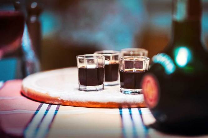 "Unicum shots for ""Interesting Liquors from Around the World"""