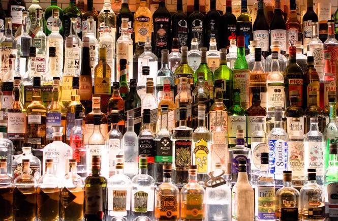Wall of liquors