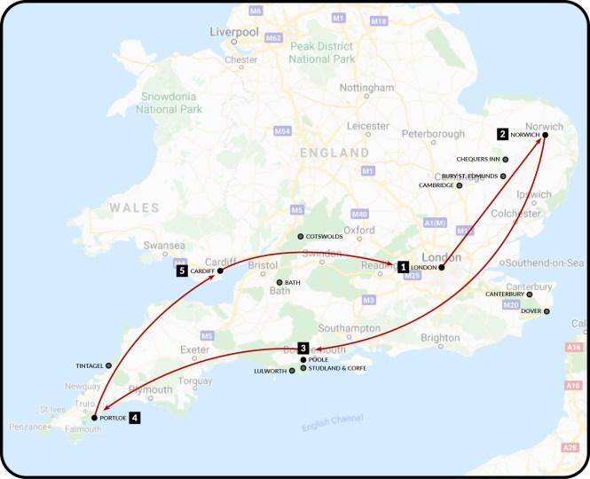 UK road trip route zoom-in