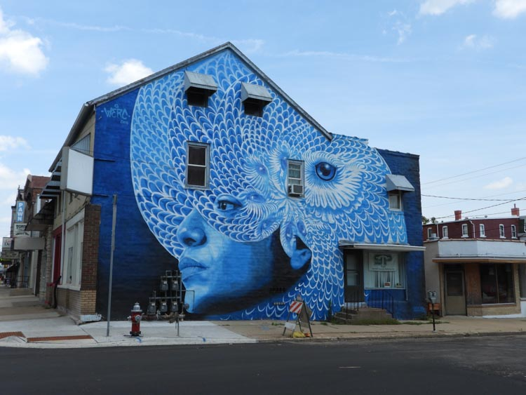 Blue owl street art in Dubuque, Iowa, America's Heartland town
