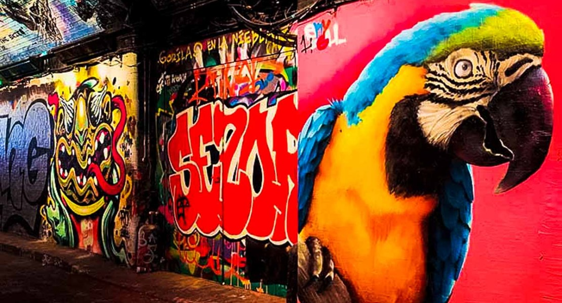 Street art on Leake Street in London